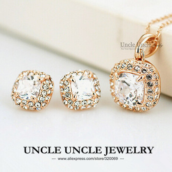 Classic Style!!! 18K Rose Gold Plated Princess Cut Square Zirconia Wedding Lady Jewelry Set Necklace/Earring Wholesale 18krgp