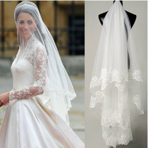 Free shipping hot sale high quality Wholesale 1 5m wedding veils bridal accesories lace veil bridal