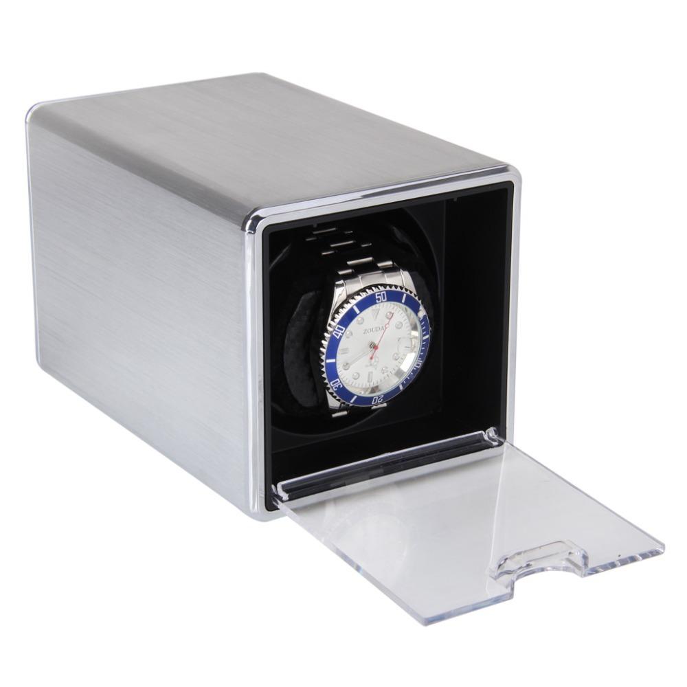 High Quality Silver Rectangle Single Mute Automatic Watch Winder Display Box Gift(China (Mainland))