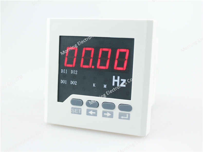 ME-F61-2O 72*72mm Hot sale LED display single phase digital frequency meter, with 2 realy outputs(China (Mainland))