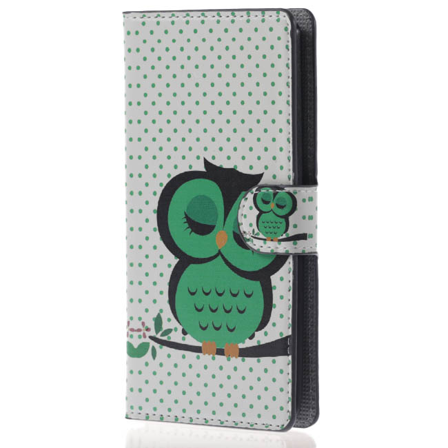 Cute Cartoon Owl PU Leather Cover For Huawei Ascend P7 P 7 Book Flip Cases For Huawei P7 Case Wallet Art Print Phone Housing(China (Mainland))
