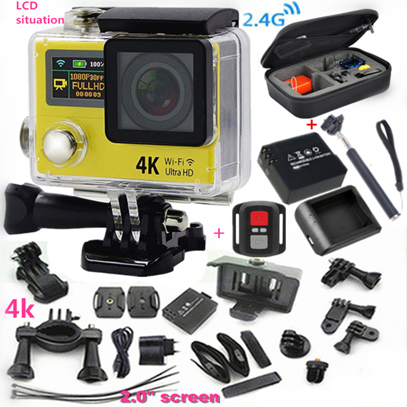 "Original sport camera H3R Ultra 4K HD 2.0"" Dual Screen Action Camera Waterproof 30m 170D Lens go - pro Style cam+extra battery(China (Mainland))"