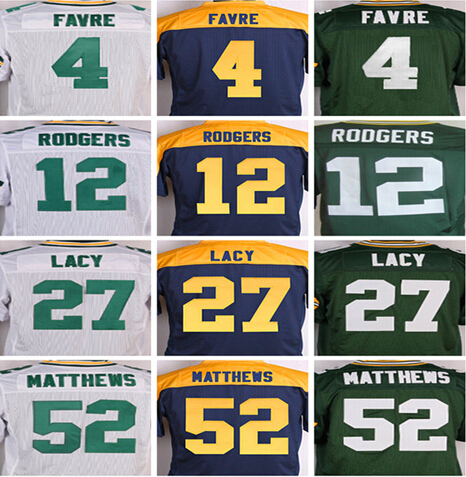 Men's 4 Brett Favre 12 Aaron Rodgers 18 Randall Cobb 27 Eddie Lacy 52 Clay Matthews 87 Jordy Nelson elite jersey,Best quality(China (Mainland))