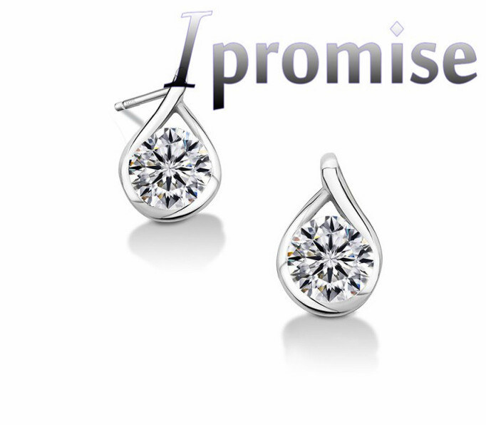 design simple elegant 925 silver Austrian crystal cardamom zircon water droplets rhinestone earrings suit fashion jewelry 1034(China (Mainland))