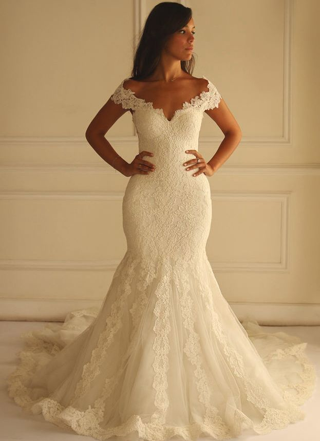 Ivory lace mermaid wedding dresses 2016 off the shoulder for Lace off the shoulder wedding dresses