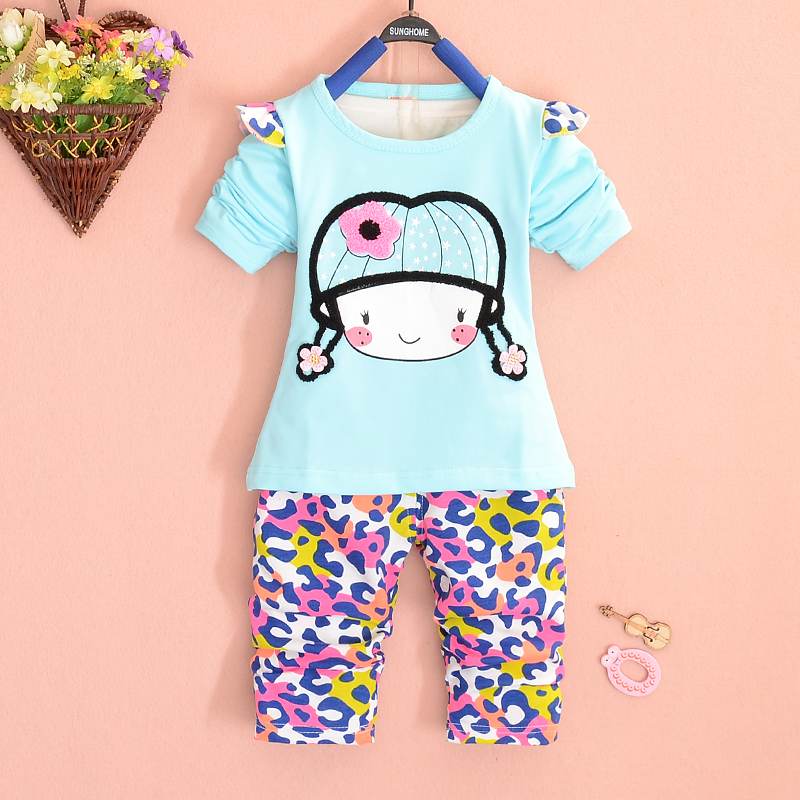 2016 New Fashion Autumn Baby Clothing Set O-Neck Full Length Cotton Flora Girls Suit A240 - Helen Children's clothing shop store