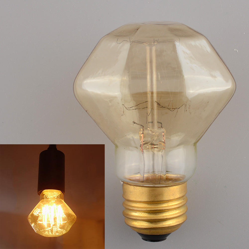 Vintage Edison Style Retro Tungsten Filament Gorgeous Diamond 110V/40W Saving Bright Office Light Bulb(China (Mainland))