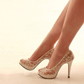 New Woman Lady Sexy High Fashion High Heels Shoes Peep Toe Prom Evening Party Dress Shoes