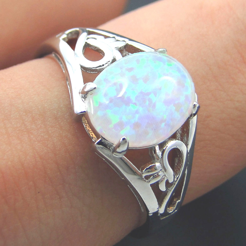 fashion silver jewelry white fire opal ring 100 925 sterling silver jewelry wedding rings women rings size 567891011 - Opal Wedding Ring