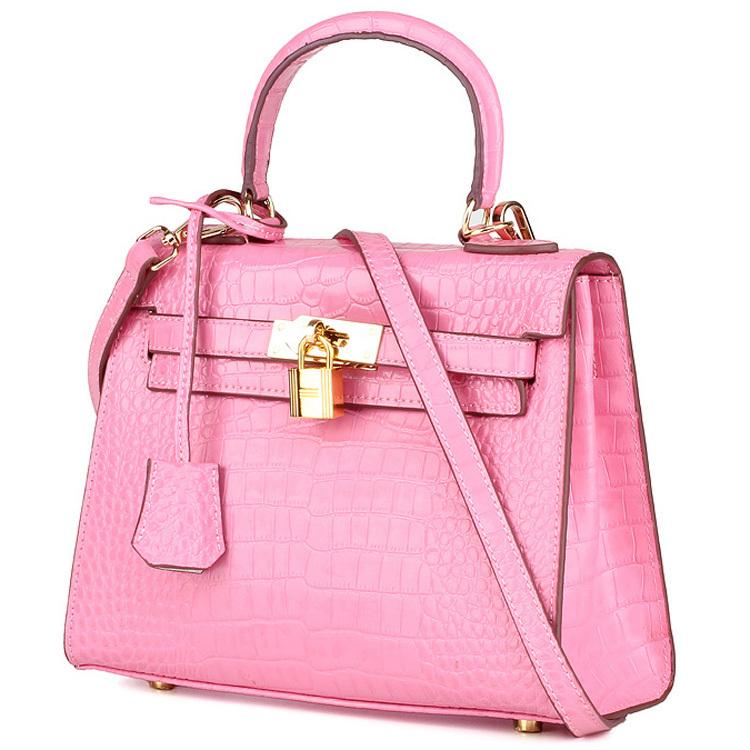Crocodile Pattern Cowhide Designer Golden Lock Handbags Women Famous Brands Kelli Genuine Patent Leather Handbags Tote Bags(China (Mainland))