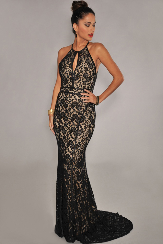 Hot sale 2015 Elegant Lace Nude Illusion halter backless long formal Evening Dress vestidos de festa vestido longo LC6272 Brand(China (Mainland))