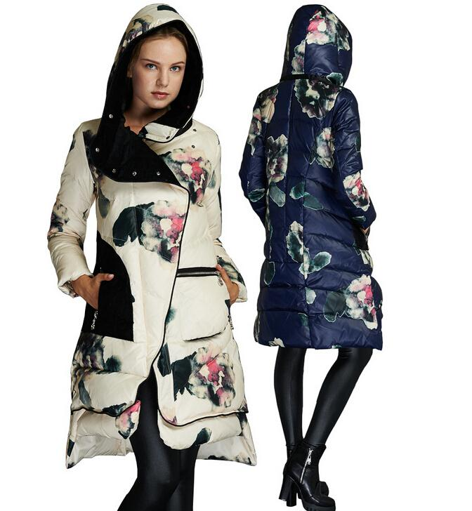 2015 Winter Jacket Women's Brand Print Parka white duck Down Jackets With Hooded For Female Coats Warm Outerwear h670
