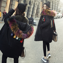 Coréen 2016 femmes vestes parka avec couleur de vrais fourrure de capot collier femelle long puffer manteau canada mode goode vers le bas noir xxl(China (Mainland))