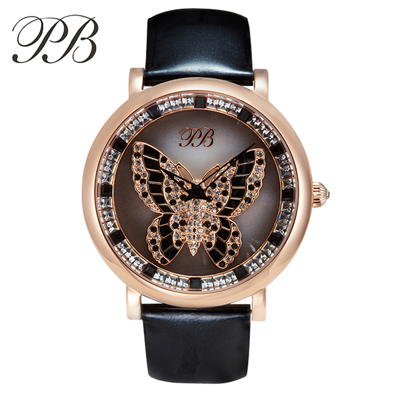 PB Brand Austrian Crystal Rotatable Butterfly Luxury Ladies Dress Watches Fashion Genuine Leather Sapphire Women Quartz Watch(China (Mainland))