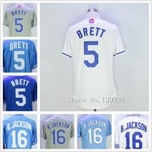 Men's #5 George Brett 16# Bo Jackson Throwback Baseball Jerseys Stitched Blue White Jerseys 2016(China (Mainland))