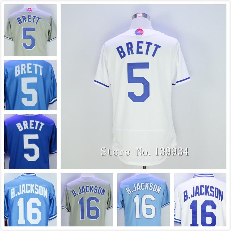 Hombres #5 George Brett #16 Bo Jackson Retroceso Jerseys Del Béisbol Cosido Jerseys Azul Blanco 2016(China (Mainland))
