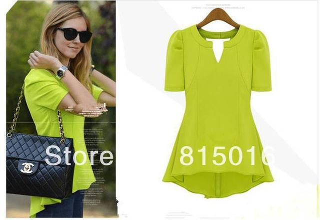 M-4XL 2013 Brand New Summer Blouses for Women Plus Size Stand Collar short Sleeve Dovetail Crochet Chiffon Shirts