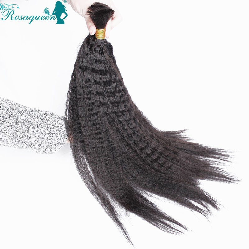 Kinky Straight Human Braiding Hair Bulk Brazilian Virgin Hair 2Pcs/Lot Natural Black Human Hair For Braiding Bulk No Attachment