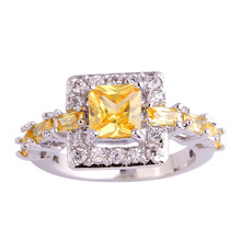 Wholesale 766R4-8 Princess Cut Citrine & White Sapphire 925 Silver Ring Size 8 Free Shipping