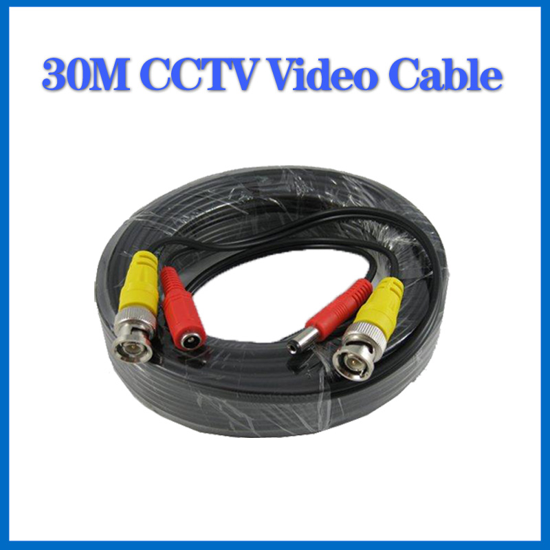 100FT CCTV cable 30m BNC Video Power coaxial Cable bnc video output cable for cctv Security Camera dvr surveillance system(China (Mainland))