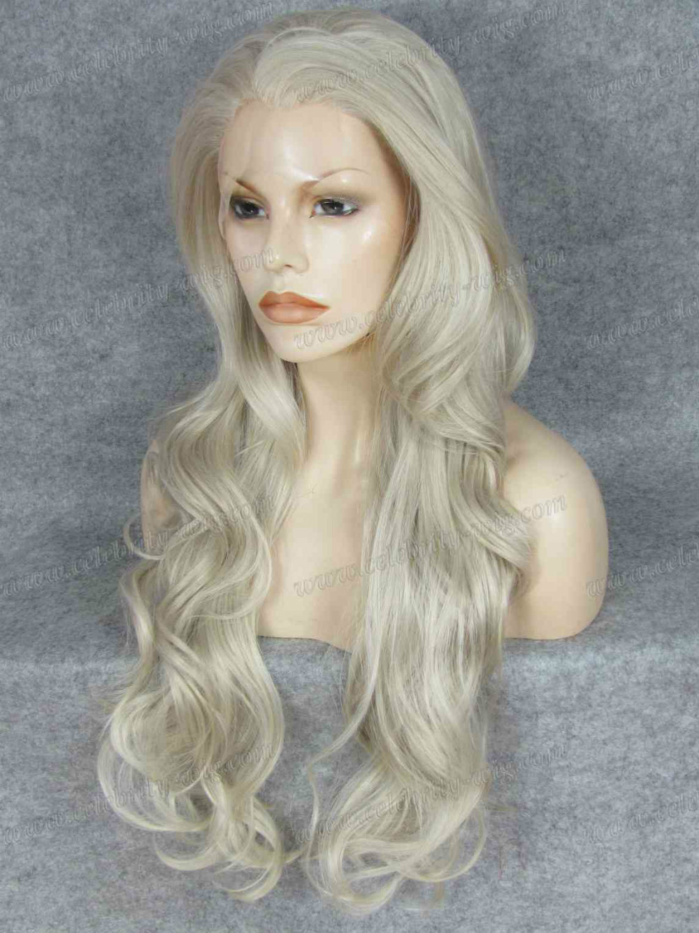 N12-16/1001 Haifa Wehbe wavy synthetic grey lace front wig<br><br>Aliexpress