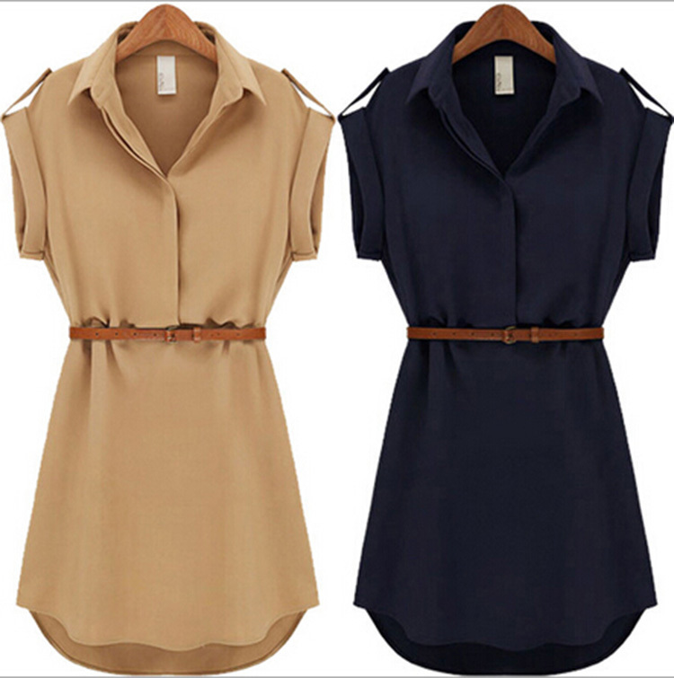 With Belt! 2015 Women Summer Dress V-Neck Short A-Line Solid Plus Size Chiffon Casual Dress For Party Beach Office Free Shipping(China (Mainland))