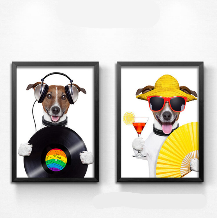 Oil Painting Cartoon Animal Paintings Funny Honest Dogs Painting For Living Room Decor Wall Art Pictures Music Bar Decor HD1174(China (Mainland))