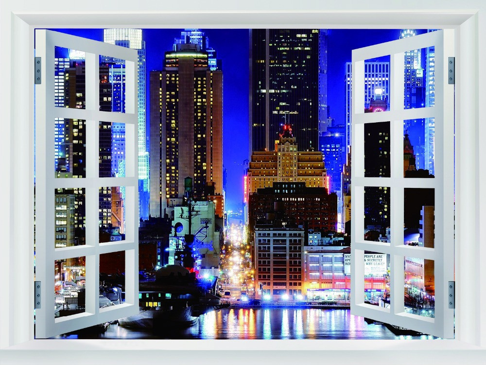 Free Shipping Home Decor Wall Sticker New York City Wallpaper Custom Manhattan Night New York