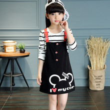 Buy 2016 New Fashion Spring Autumn Mickey Girls Dress Strap Dress suit Baby Girl Kids Clothes Children suspender Dress for $17.08 in AliExpress store