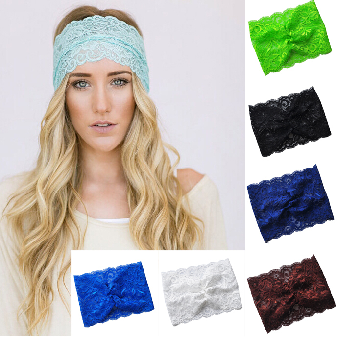 2015 NEW Boho Women Girl Lace Headband turban headband lace wider headwear for lady girls accessories Drop shipping(China (Mainland))