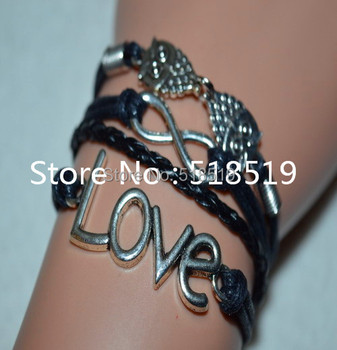Free Shipping!6pcs/lot!Handmade Braided Leather Antique Silver Alloy Owl LOVE Infinity Bracelet Fashion Dance Gift Jewelry Q-116