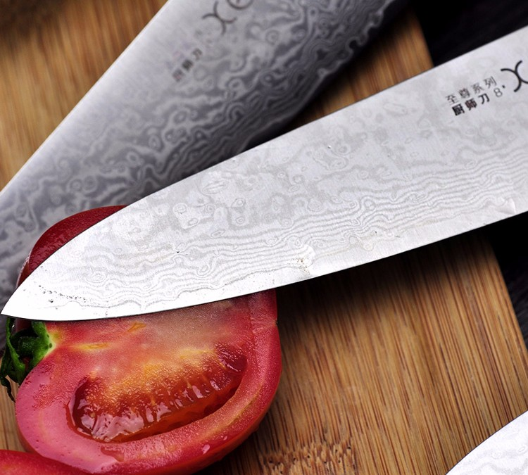 """Buy 2016 LD 8""""inch chef knives high quality fashion Japanese VG10 Damascus steel kitchen knife with Micarta handle Free shipping cheap"""