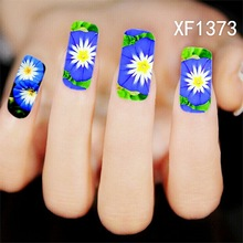 Brand Designer Nail Art Decorations Beautiful 3d Blue Lotus Flowers Design Nail Sticker Eauty Wraps Foil Polish Decals Watermark