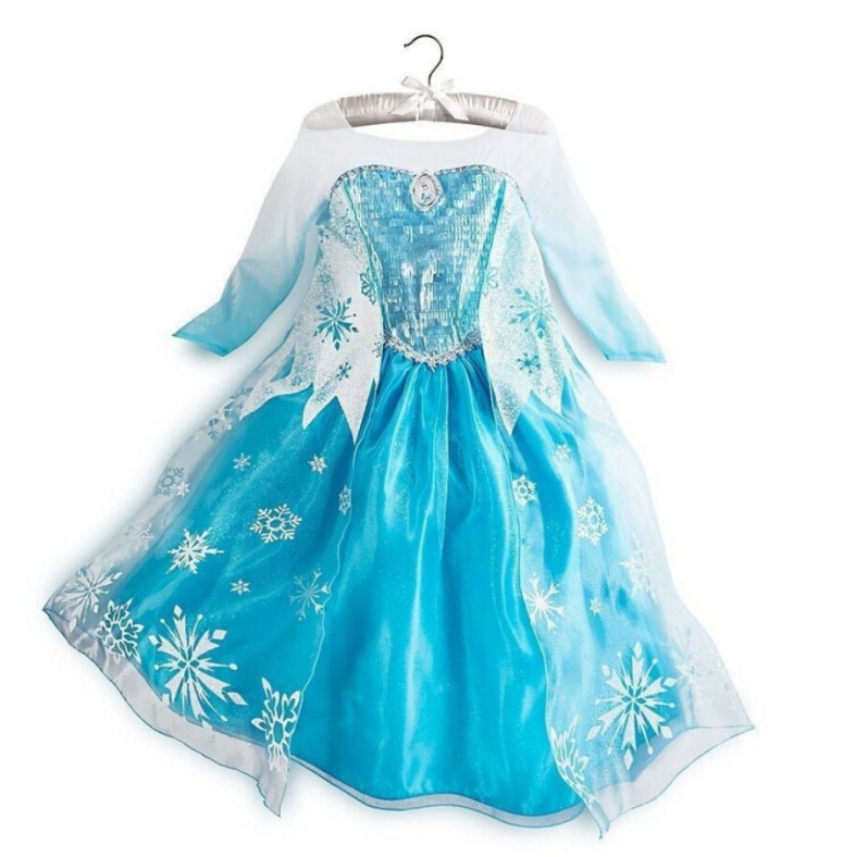 Anna Elsa snow dress baby girls costume,summer styles kids party princess dress,children casual vestidos.(China (Mainland))