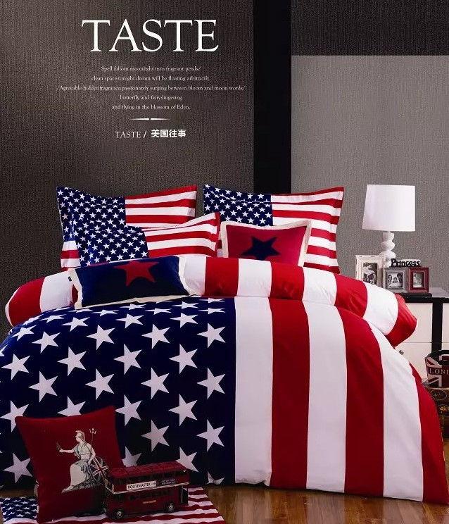American flag bedding set for queen size duvet cover bedspread bed in a bag sheet bedroom quilt linen bedclothes 100% cotton(China (Mainland))