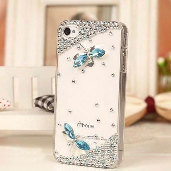 1PC Free Shipping Bulk Luxury 3D Crystal Dragonfly Bling Diamond Case For iPhone 5 5g Retail Package Accessory