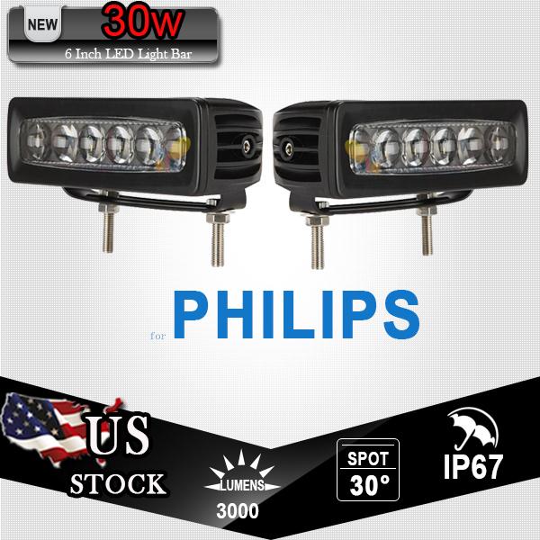 2x 30W 6 Inch for PHILIPS 4D Fisheye LED Work Light Bar Offroad Spot Beam For Jeep ATV SUV UTV 4X4 4WD Camper Trailer 12V 24V(China (Mainland))