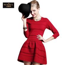 2016 New Arrival Fashion Autumn European Style Vintage Cute Waisted Dress Women Slim Knitting Dress Ladies Ball Gown Mini Dress(China (Mainland))