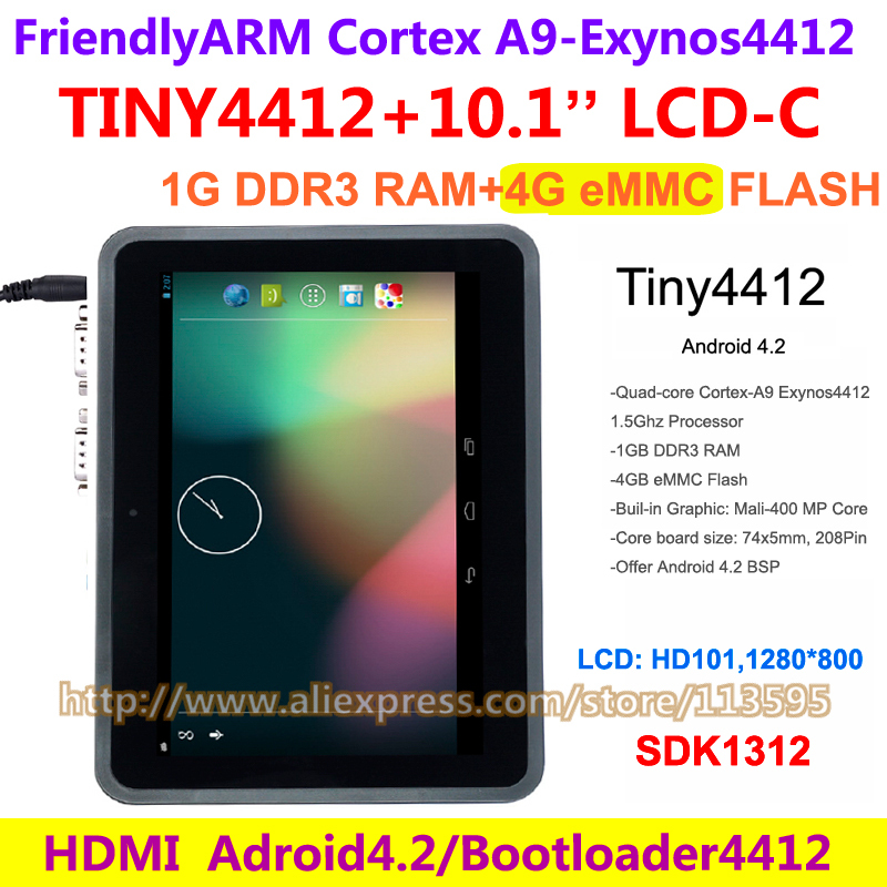 Exynos Quad core A9 TINY4412 SDK+ HD101 , 10.1 inch Capacitive Touch 1280*800 1G RAM 4G Flash FriendlyARM Board Android 4.2(China (Mainland))