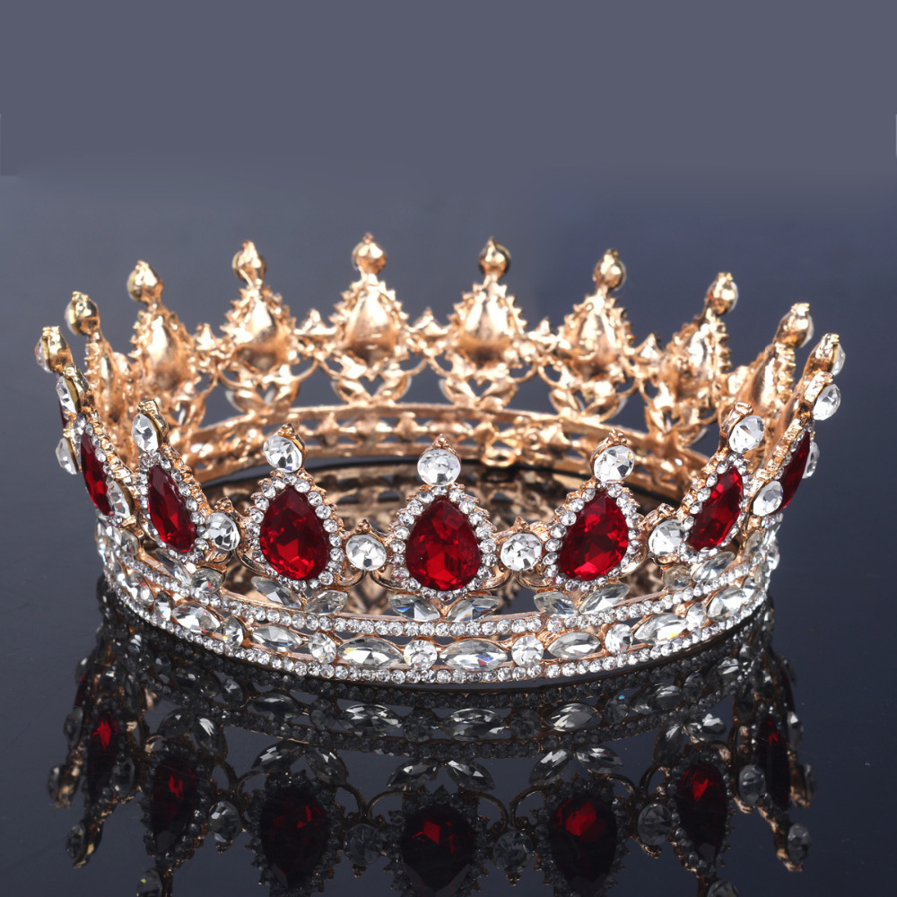 Huge Wedding Bridal Bridesmaid Flower Girls 18K Gold Plated Crystal Quinceanera Kings Queens Royal Tiaras And Crowns Headband(China (Mainland))