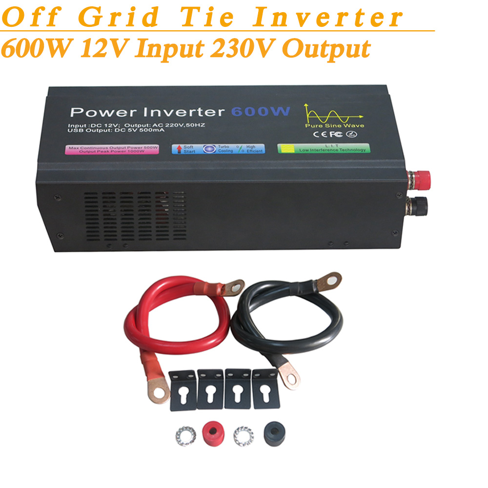 Full Power 600W Off Grid Pure Sine Wave Inverter 12VDC Input 230V Output Soft Start High Conversion Efficiency with USB 5V 500mA(China (Mainland))