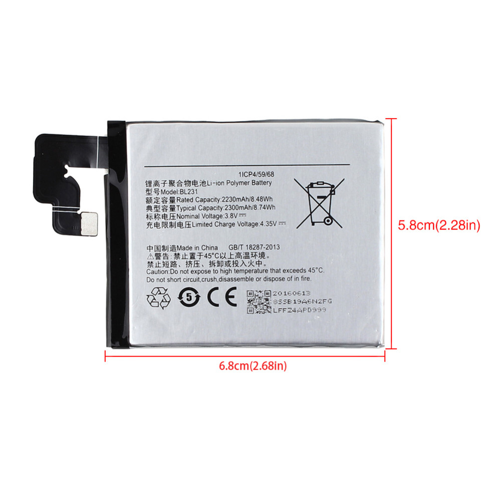 2016 High Quality 2230mAH BL231 Phone Replacement Battery For Lenovo A6800 changing Batteria with 8 in1 Phone Machine Tools Kit