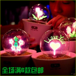 Romantic birthday gift flower lamp Potted fireworks Night light I LOVE YOU(China (Mainland))