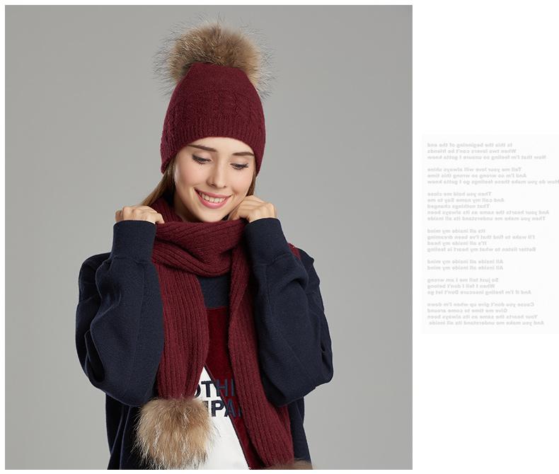 CIVICHIC Top Grade Ladies Winter Scarf Hat 2 Piece Knit Warm Suit Pompon Beanies Skullies Thicken Shawl Solid Neck Warmer SH147
