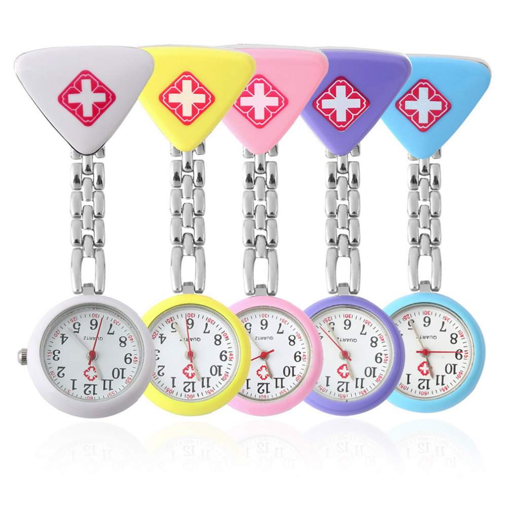 Top Quality!!!Clip Nurse Doctor Triangl Pendant Pocket Quartz Red Cross Brooch Nurses Watch Fob Hanging Medical