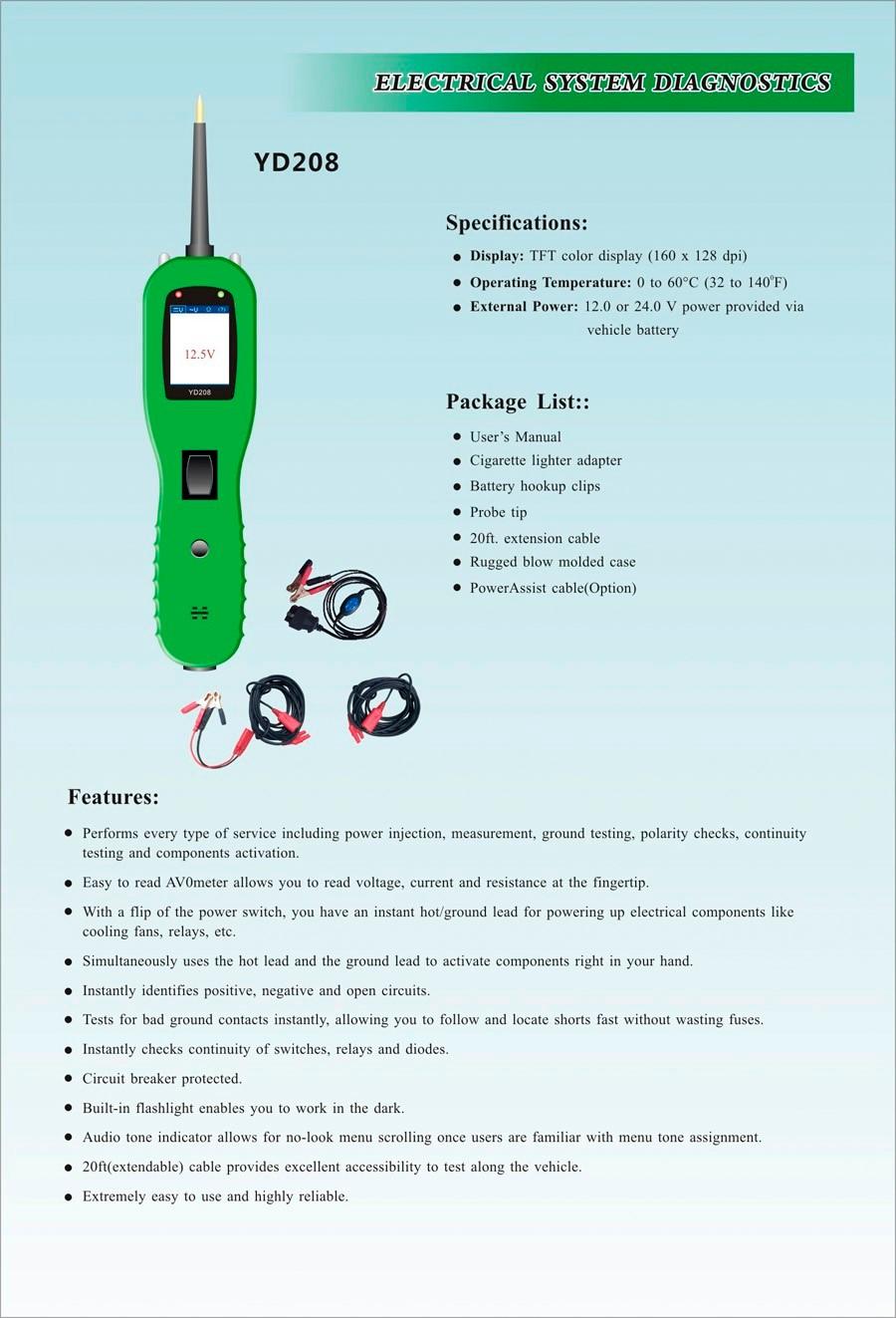 Купить Ю . д . 208 PowerScan YD208 цепи тестер электрическая система диагностический инструмент