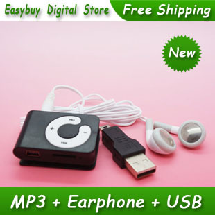 High Quality Mini C Key MP3 Music Player Clip MP3 Players Support TF Card With Earphone&Mini USB(China (Mainland))