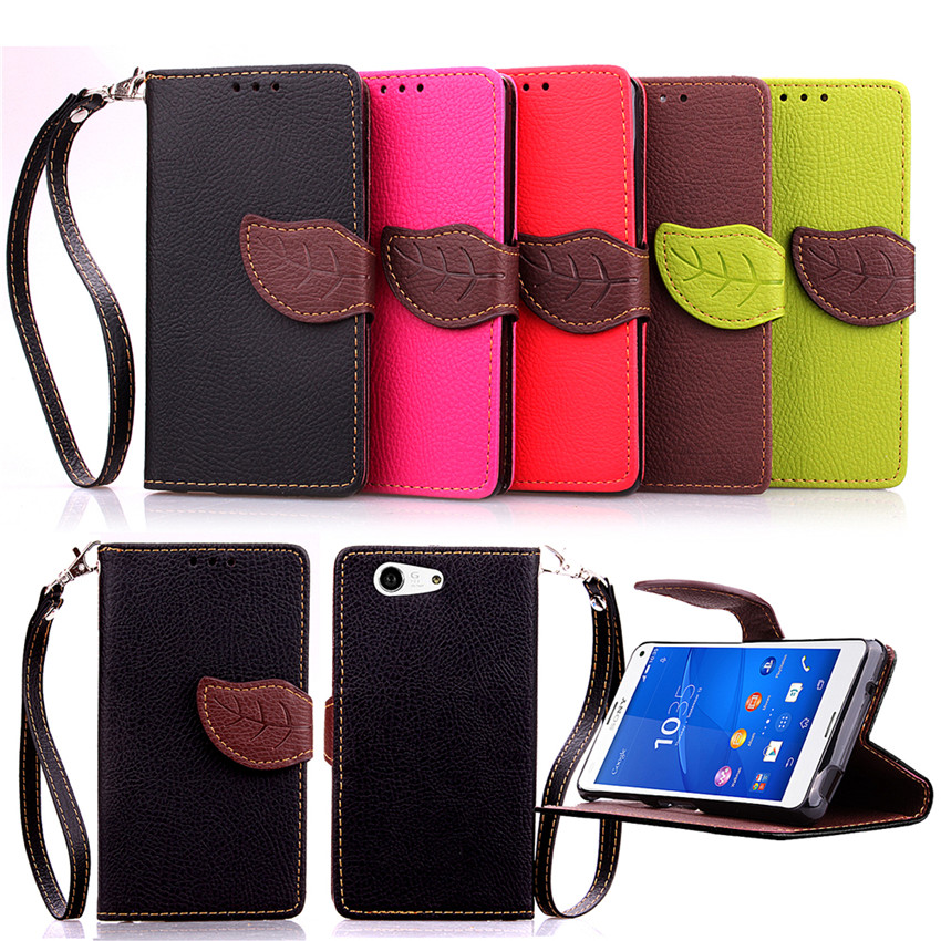 Elegant Leaf Design PU leather Wallet Case For Sony Xperia Z4 mini case Wallet Card Holder stand Flip Mobile Phone Bags cover(China (Mainland))