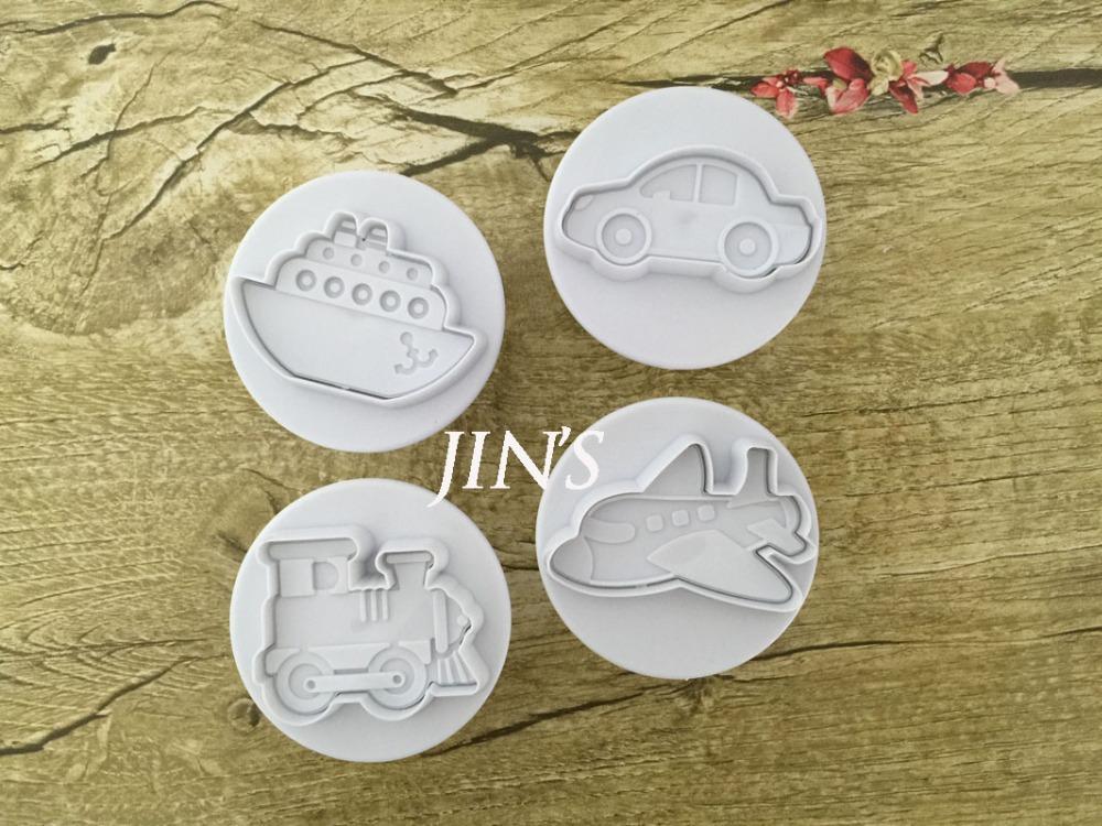 4PCS/LOT Plane, Ship, Train, Car Sample Plastic Cookie Cutter, Fondant Cake Tools, Cake Decorating DIY Molds 020167(China (Mainland))