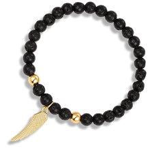 LIVVY 2019 Nova moda pena pendente de pedra natural talão pulseira jóias da moda jóias pulseira masculina pulseira de pulso da mão elástica(China)